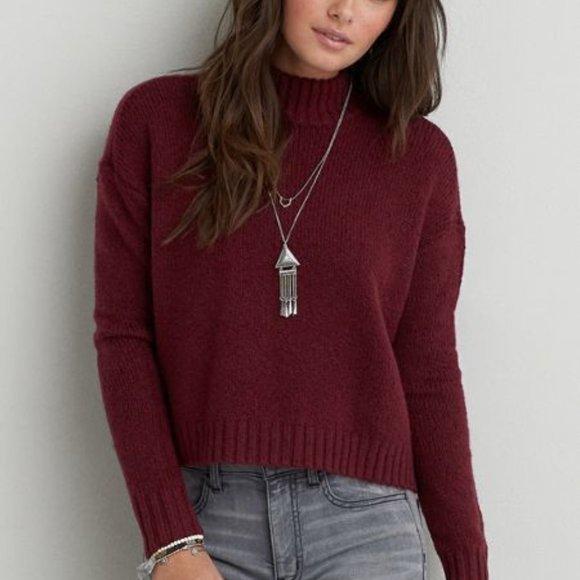 AMERICAN EAGLE Burgundy Chenille Turtleneck Sweater